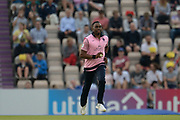 Dwayne Bravo of Middlesex running in to bowl to Chris Wood during the Vitality T20 Blast South Group match between Hampshire County Cricket Club and Middlesex County Cricket Club at the Ageas Bowl, Southampton, United Kingdom on 20 July 2018. Picture by Dave Vokes.