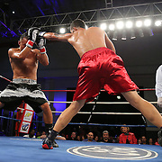 "Emanuel  DeJesus (red shorts) fights against Juan Aguirre during a ""Boxeo Telemundo""  boxing match at the Kissimmee Civic Center on Friday, July 18, 2014 in Kissimmee, Florida. DeJesus won the bout. (AP Photo/Alex Menendez)"
