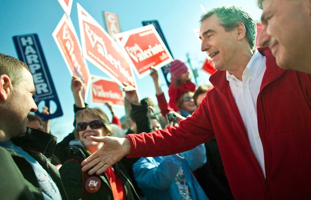 Liberal leader Michael Ignatieff shakes hands with Liberal and conservative supporters during a campaign stop in Guelph, Ontario, April 30, 2011.<br /> REUTERS/Geoff Robins