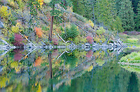 Reflections of fall foliage in a slow running river&#xA;<br />