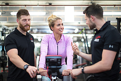 © Licensed to London News Pictures . 31/07/2017 . Manchester , UK . Hollyoaks actor Gemma Atkinson on an exercise bike at the opening event for Up Gym in Spinningfields . Photo credit : Joel Goodman/LNP