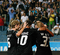 03.08.2011, UPC Arena, Graz, AUT, CL-Qualifiers, SK Sturm Graz vs. FC Zestafoni, im Bild Torjubel nach dem 1:0 durch Roman Kienast (SK Sturm Graz, #24, Forward), EXPA Pictures © 2011, PhotoCredit: EXPA/ Erwin Scheriau
