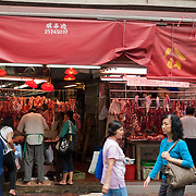 Shopping for fresh meat at a Hong Kong market