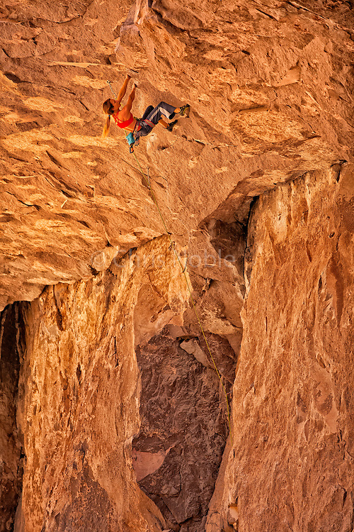 "Professional rock climber Lisa Rands leads ""Looney Binge"" rated 12c, in the Owens River Gorge"