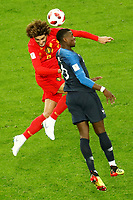 SAINT PETERSBURG, RUSSIA - JULY 10: Paul Pogba (R) of France national team and Marouane Fellaini of Belgium national team vie for a header during the 2018 FIFA World Cup Russia Semi Final match between France and Belgium at Saint Petersburg Stadium on July 10, 2018 in Saint Petersburg, Russia. MB Media