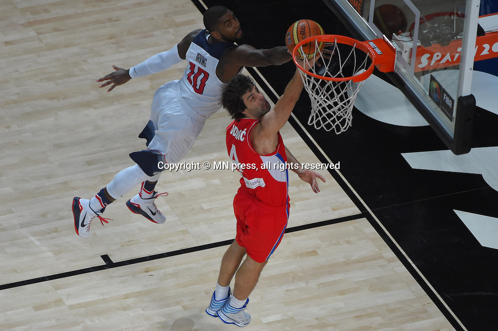 KYRIE IRVING of United states of America and TEODOSIC of Serbia basketball team in action during Final FIBA World cup match against MILOS TEODOSIC of Serbia, Madrid, Spain Photo: MN PRESS PHOTO<br /> Basketball, Serbia, United states of America, Final, FIBA World cup Spain 2014