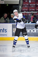 KELOWNA, CANADA - DECEMBER 5: Dalton Reum #3 of the Swift Current Broncos warms up on the ice at the Kelowna Rockets on December 5, 2012 at Prospera Place in Kelowna, British Columbia, Canada (Photo by Marissa Baecker/Shoot the Breeze) *** Local Caption ***