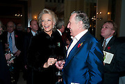 PRINCESS MICHAEL OF KENT; SIR FREDERICK FORSYTH, Book launch of Lady Annabel Goldsmith's third book, No Invitation Required. Claridges's. London. 11 November 2009