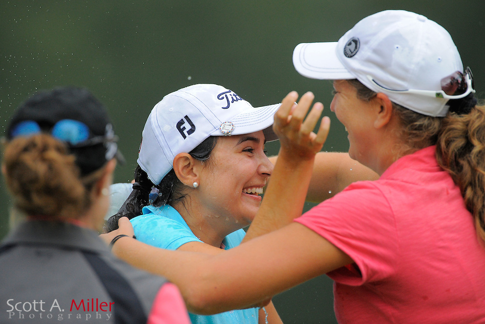 Paola Moreno celebrates winning the Symetra Tour's Eagle Classic at the Richmond Country Club on August 19, 2012 in Richmond, Va...©2012 Scott A. Miller.
