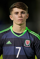 BANGOR, WALES - Tuesday, November 15, 2016: Wales' Ben Woodburn stands for the national anthem before the UEFA European Under-19 Championship Qualifying Round Group 6 match against Luxembourg at the Nantporth Stadium. (Pic by David Rawcliffe/Propaganda)