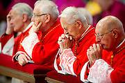 Vatican City oct 4th 2015, opening mass in St Peter's Basilica for  the bishops synod on family. In the picture cardinals in prayer