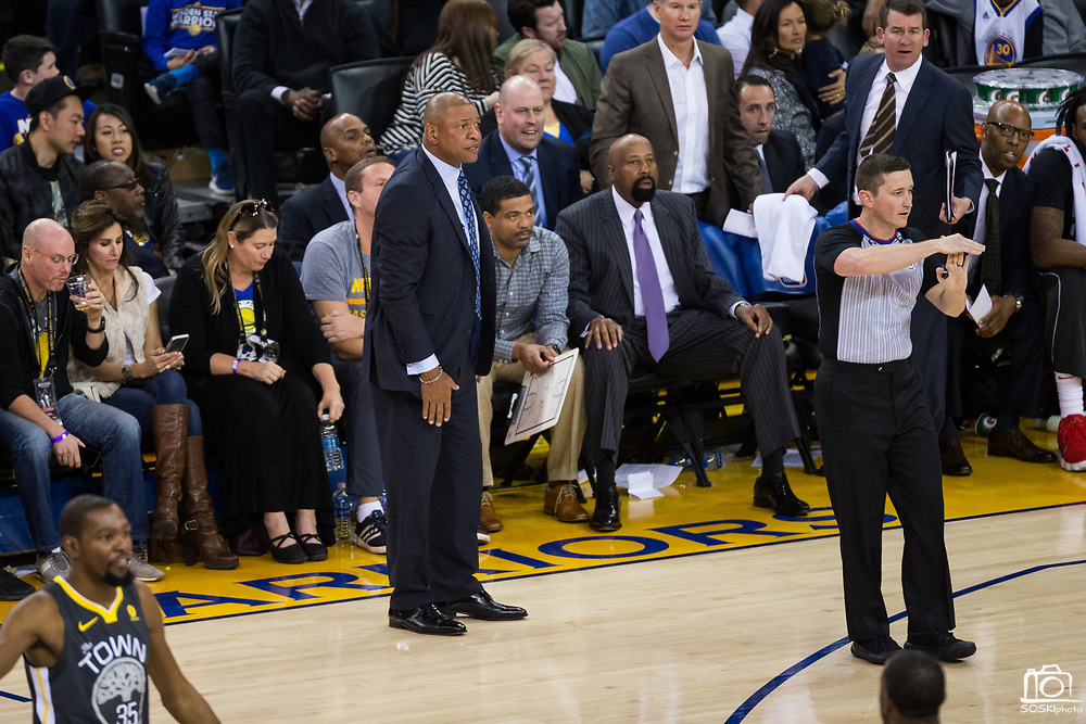 LA Clippers head coach Doc Rivers is called for a Technical Foul during a NBA game against the Golden State Warriors at Oracle Arena in Oakland, California, on February 22, 2018. (Stan Olszewski/Special to S.F. Examiner)
