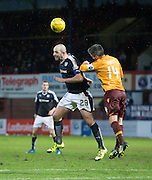 Dundee&rsquo;s Gary Harkins and Motherwell&rsquo;s Keith Lasley battle in the air - Dundee v Motherwell, Ladbrokes Premiership at Dens Park <br /> <br />  - &copy; David Young - www.davidyoungphoto.co.uk - email: davidyoungphoto@gmail.com