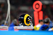 A Rams helmet during the International Series match between Los Angeles Rams and Cincinnati Bengals at Wembley Stadium, London, England on 27 October 2019.
