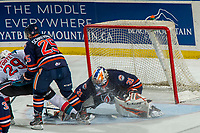 KELOWNA, CANADA - DECEMBER 29:  Dylan Ferguson #31 of the Kamloops Blazers makes a save on a shot by Nolan Foote #29 of the Kelowna Rockets on December 29, 2018 at Prospera Place in Kelowna, British Columbia, Canada.  (Photo by Marissa Baecker/Shoot the Breeze)