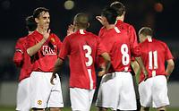 Photo: Paul Thomas.<br />Manchester United v Stockport County. Manchester Senior Cup. 01/11/2007.<br /><br />Gary Neville (L) of Man Utd congratulates goal scorer Chris Eagles (8).