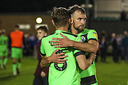 Forest Green Rovers Dayle Grubb(8) and Forest Green Rovers Christian Doidge(9) at the end of the match during the EFL Sky Bet League 2 second leg Play Off match between Forest Green Rovers and Tranmere Rovers at the New Lawn, Forest Green, United Kingdom on 13 May 2019.