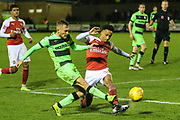 Forest Green Rovers George Williams(11) crosses the ball during the EFL Trophy group stage match between Forest Green Rovers and U21 Arsenal at the New Lawn, Forest Green, United Kingdom on 7 November 2018.