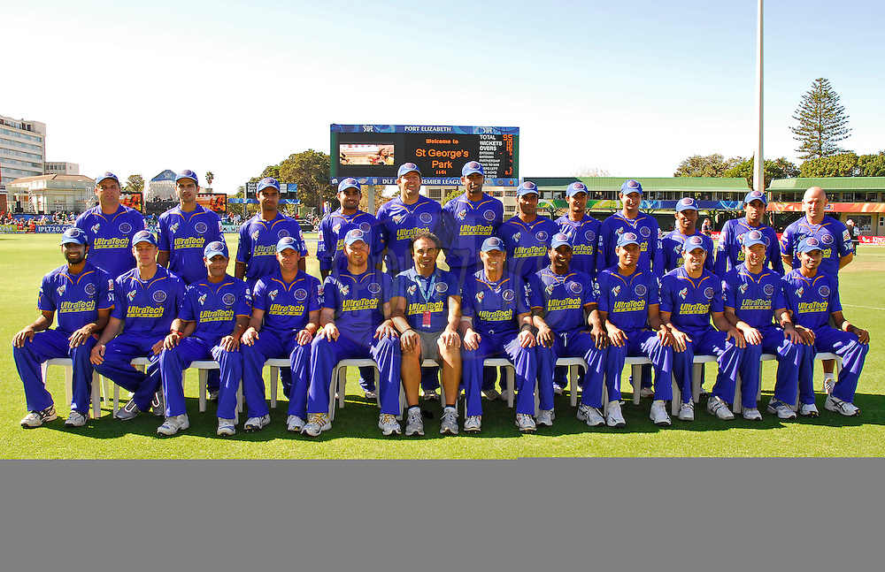 PORT ELIZABETH, SOUTH AFRICA - 2 May 2009.  The Rajasthan Royals team photo during the  IPL Season 2 match between the Deccan chargers vs Rajasthan Royals held at St Georges Park in Port Elizabeth , South Africa.