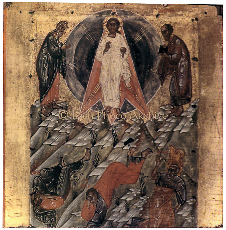Russian icon of the Transfiguration - 16th century. Transfiguration of Jesus  on the high mountain before Peter, James and John, recounted in the Synoptic Gospels.