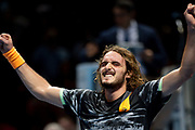 Stefanos Tsitsipas of Greece after winning match point during the Nitto ATP finals at the O2 Arena, London, United Kingdom on 17 November 2019.