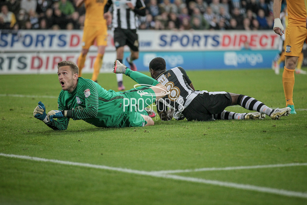 Anders Lindegaard (Preston North End) watches as the ball goes towards his goal during the EFL Cup 4th round match between Newcastle United and Preston North End at St. James's Park, Newcastle, England on 25 October 2016. Photo by Mark P Doherty.