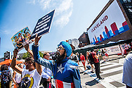 Jul 20, 2016; Cleveland, OH, USA; Anti-Trump protestors in downtown Cleveland at the site of the Republican National Convention.