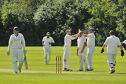 ROTHWELLS BOWLER DEAN SPREADBURY  CELEBRATES AS SAINTS BATSMAN LIAM WATKINSON IS LBW, ROTHWELL CRICKET CLUB v  NORTHAMPTON SAINTS  CC, Desborough  Road Rothwell  Saturday 25th June 2016