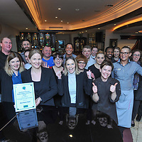 REPRO FREE<br /> Staff at the Blue Haven Hotel in Kinsale celebrate winning the The Irish Hotels Federation (IHF) National Quality Employers Awards Small Hotel Category.<br /> Picture. John Allen<br /> <br /> <br /> Press Release <br /> <br /> Blue Haven wins prestigious Quality Employer Award<br /> <br /> The Irish Hotels Federation (IHF) has announced the winners of its inaugural national Quality Employers Awards, celebrating standards of excellence in human resource management across the hotel and guesthouse sector. The awards, which were presented at the IHF&rsquo;s annual conference by Minister of State for Tourism and Sport, Michael Ring, TD, recognise hotels and guesthouses that attract, empower and develop employees in line with the overall goals and objectives of the Quality Employer Programme.<br /> The Blue Haven has won the Small Hotel Category recognizing it as the top small hotel in Ireland to work in and the award was presented at the biggest event in the Irish Hotel Federations calendar the National Conference at the INEC in Killarney. <br /> Figures published at the IHF&rsquo;s 78th Annual Conference in Killarney show that strong growth in tourism continues to generate significant jobs growth in the industry. Some 64% of hotels and guesthouses increased staffing levels in 2015, while seven out of ten hoteliers (69%) plan to take on further additional staff over the next 12 months. Tourism now supports an estimated 205,000 jobs in Ireland, equivalent to 11% of total employment.&nbsp;