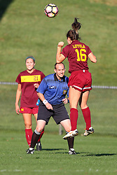 04 November 2016:  Madison Kimball with the head hit in front of referee Doug Wolff during an NCAA Missouri Valley Conference (MVC) Championship series women's semi-final soccer game between the Loyola Ramblers and the Evansville Purple Aces on Adelaide Street Field in Normal IL