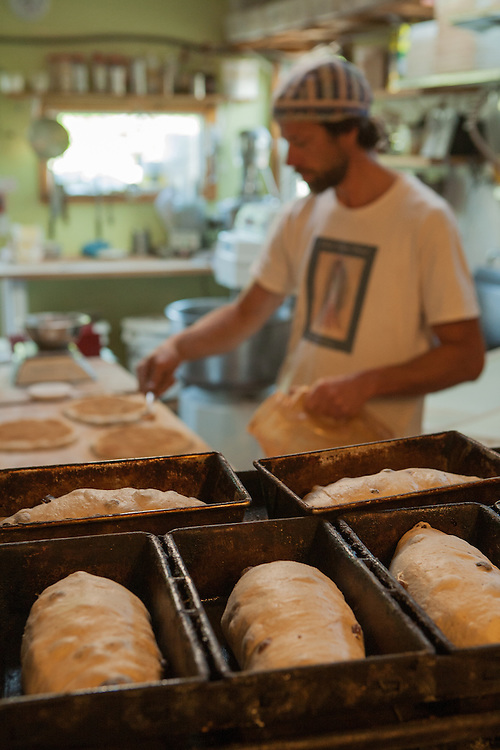 Jamestown, RI - 7 May 2007. Andrea Colognese, baker and co-owner of The Village Hearth Bakery and Cafe, in the bakery.