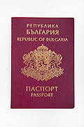 Cutout of a Bulgarian passport on white background