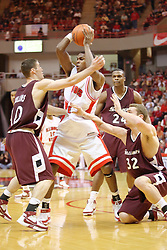 05 January 2008:  Anthony Slack maintains possession amidst several Salukis including Bryan Mullins, Matt Shaw and Wesley Clemmons.The Redbirds of Illinois State took the bite out of the Salukis of Southern Illinois winning the Conference home opener for the 'birds on Doug Collins Court in Redbird Arena in Normal Illinois by a score of 56-47.
