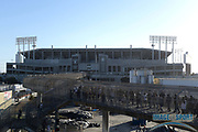 Sep 10, 2018; Oakland, CA, USA; General overall view of the Oakland-Alameda County Coliseum as fans arrive before the NFL game between the Los Angeles Rams and the Oakland Raiders.