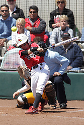 26 April 2015:   At bat for the Redbirds is Kelsey Turczyn during an NCAA Missouri Valley Conference (MVC) Championship series women's softball game between the Loyola Ramblers and the Illinois State Redbirds on Marian Kneer Field in Normal IL