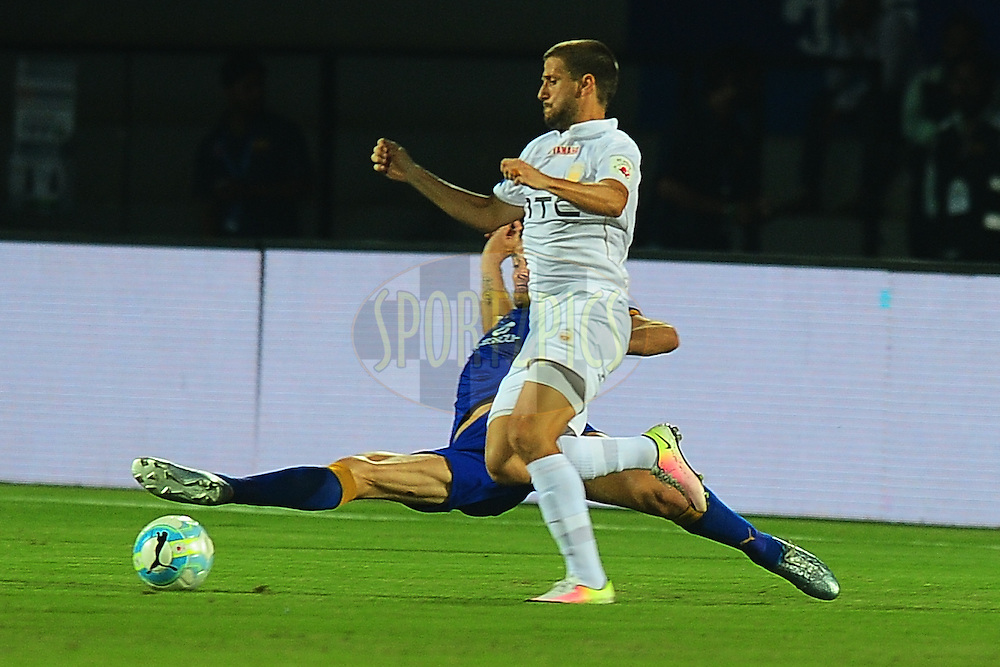 Emiliano Alfaro of NorthEast United FC during match 7 of the Indian Super League (ISL) season 3 between Mumbai City FC and NorthEast United FC held at the Mumbai Football Arena in Mumbai, India on the 7th October 2016.<br /> <br /> Photo by Faheem Hussain / ISL/ SPORTZPICS