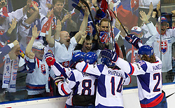 Players and fans of Slovakia celebrate during ice-hockey match between Slovakia and Germany of Group A of IIHF 2011 World Championship Slovakia, on May 1, 2011 in Orange Arena, Bratislava, Slovakia. Germany defeated Slovakia 4-3. (Photo By Vid Ponikvar / Sportida.com)