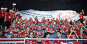 Polish Team Special Olympics during opening ceremony of the Special Olympics World Games Los Angeles 2015 at the Los Angeles Coliseum Stadium on July 25, 2015 in Los Angeles, USA.<br /> USA, Los Angeles, July 25, 2015<br /> <br /> Picture also available in RAW (NEF) or TIFF format on special request.<br /> <br /> For editorial use only. Any commercial or promotional use requires permission.<br /> <br /> Adam Nurkiewicz declares that he has no rights to the image of people at the photographs of his authorship.<br /> <br /> Mandatory credit:<br /> Photo by &copy; Adam Nurkiewicz / Mediasport