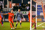 Luton Town forward James Collins (19) heads towards goal during the The FA Cup 3rd round replay match between Luton Town and Sheffield Wednesday at Kenilworth Road, Luton, England on 15 January 2019.