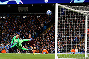 Manchester City goalkeeper Ederson (31) tips the shot round the post during the Champions League Group F match between Manchester City and Hoffenheim at the Etihad Stadium, Manchester, England on 12 December 2018.