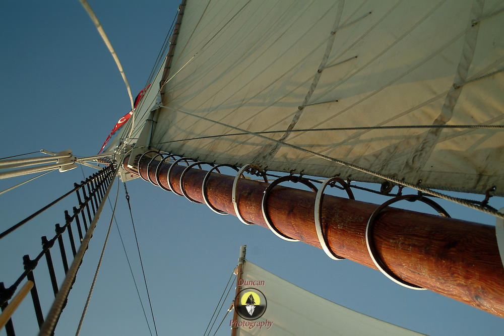 The mast of a traditional windjammer shows off the mast hoops and the ratlines -- both used to climb aloft into the rigging
