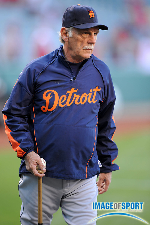 May 28, 2008; Anaheim, CA, USA; Detroit Tigers manager Jim Leyland (10) during batting practice before game against the Los Angeles Angels at Angel Stadium. Mandatory Credit: Kirby Lee/Image of Sport-US PRESSWIRE