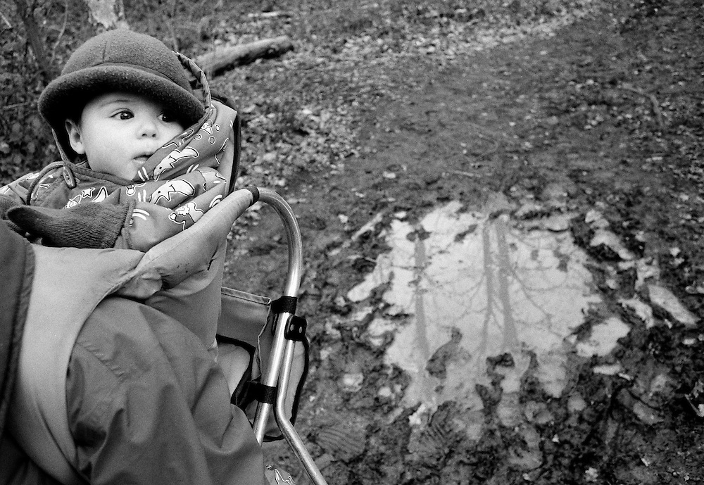 """Puddle in Oxleas Wood."" A six month-old infant looks out from a baby back carrier frame whilst out on a muddy winter jaunt in Oxleas Wood on Shooters Hill, South London. The girl peers out with a fascination for the outdoors from a warm coat wearing a tiny hat and loose-fitting gloves to view the world while perched high-up on her mother's back who carries her child on the chilly walk. The bare trees and forested landscape can be imagined from the waterlogged puddle that is out of focus to the right. This is from a documentary series of pictures about the first year of the photographer's first child Ella. Accompanied by personal reflections and references from various nursery rhymes, this work describes his wife Lynda's journey from expectant to actual motherhood and for Ella - from new-born to one year-old."