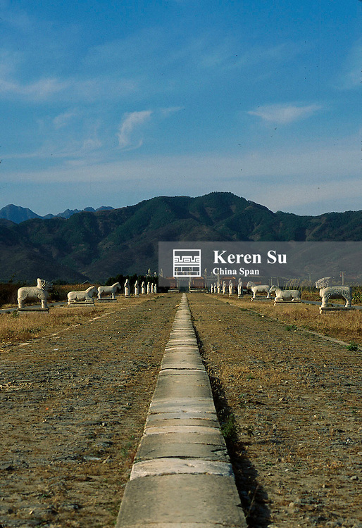 Walkway towards the Eastern Qing Tombs (Tombs of Qing Dynasty Emperors) with mountain at back, Hebei Province, China