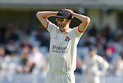 Graham Onions of Lancashire has his hands on his head ad tension builds during the Specsavers County Champ Div 1 match between Somerset County Cricket Club and Lancashire County Cricket Club at the Cooper Associates County Ground, Taunton, United Kingdom on 5 September 2018.