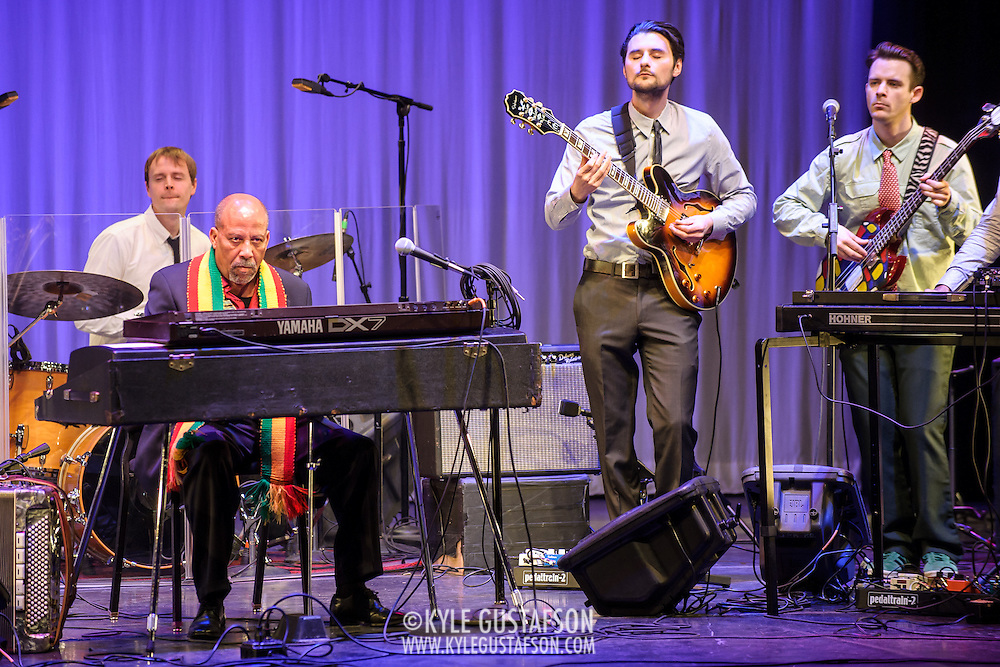 WASHINGTON, DC - February 11th, 2014 - Hailu Mergia (second from left) performs on the Millennium Stage at the Kennedy Center. Mergia, a star of Ethiopian music in the 1970s as a member of the Walias Band, now drives a cab in Washington, D.C. (Photo by Kyle Gustafson / For The Washington Post)