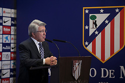 26.07.2015, Estadio Vicente Calderon, Madrid, ESP, Primera Division, Athletico Madrid, Spieler Neuzugang, im Bild Atletico Madrid's President Enrique Cerezo speaks // during his official presentation as a new player of the Spanish Primera Division Club Atletico de Madrid at the Estadio Vicente Calderon in Madrid, Spain on 2015/07/26. EXPA Pictures © 2015, PhotoCredit: EXPA/ Alterphotos/ Victor Blanco<br /> <br /> *****ATTENTION - OUT of ESP, SUI*****