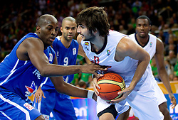 Ali Traore of France vs Ricky Rubio of Spain during final basketball game between National basketball teams of Spain and France at FIBA Europe Eurobasket Lithuania 2011, on September 18, 2011, in Arena Zalgirio, Kaunas, Lithuania. (Photo by Vid Ponikvar / Sportida)