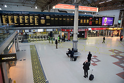© Licensed to London News Pictures. 10/01/2017. London, UK. At the height of morning rush hour Victoria Station is almost devoid of passengers as a second round of strikes by Southern Rail train drivers starts. Photo credit: Peter Macdiarmid/LNP