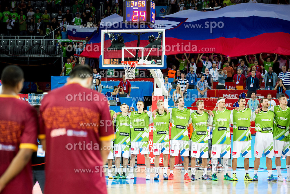Players of Slovenia listening to the national anthem during basketball match between Slovenia and Macedonia at Day 6 in Group C of FIBA Europe Eurobasket 2015, on September 10, 2015, in Arena Zagreb, Croatia. Photo by Vid Ponikvar / Sportida